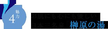 魅力4 お肌にも心にも優しい日本三名泉「榊原の湯」